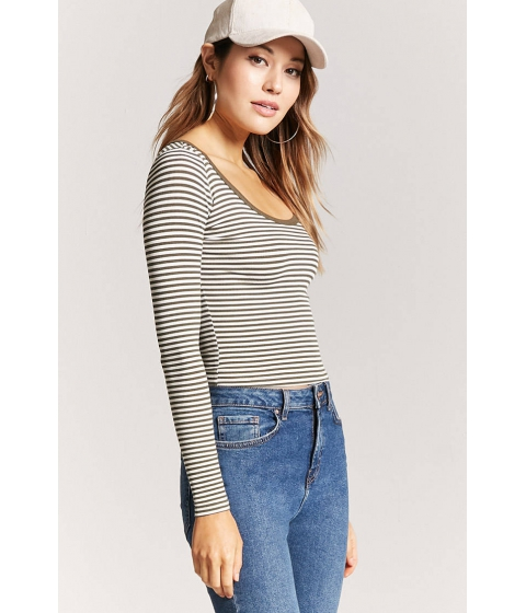 Imbracaminte Femei Forever21 Ribbed Striped Tee OLIVEWHITE