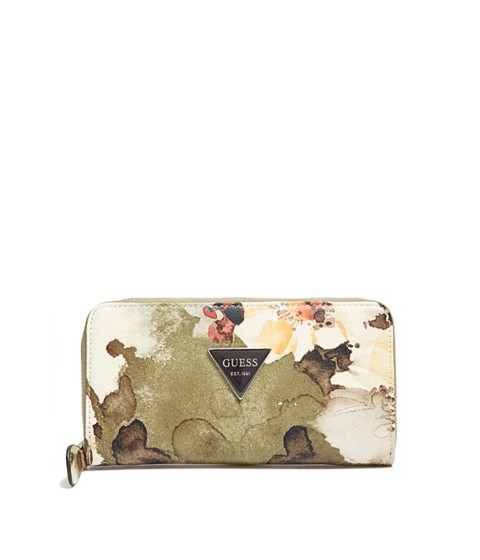 Accesorii Femei GUESS Abree Floral Zip-Around Wallet griscumulus grey wash