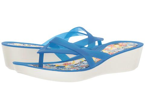 Incaltaminte Femei Crocs Isabella Print Wedge Flip Blue JeanFloral