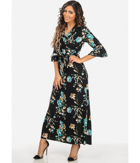 Imbracaminte Femei CheapChic Black and Blue 34 Sleeve Wrap Front V-Neck Floral Print Maxi Dress Multicolor