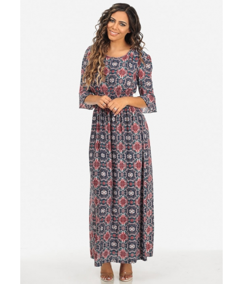 Imbracaminte Femei CheapChic Red Printed Round Neck 34 Sleeve Elastic Waist Trendy Maxi Dress Multicolor