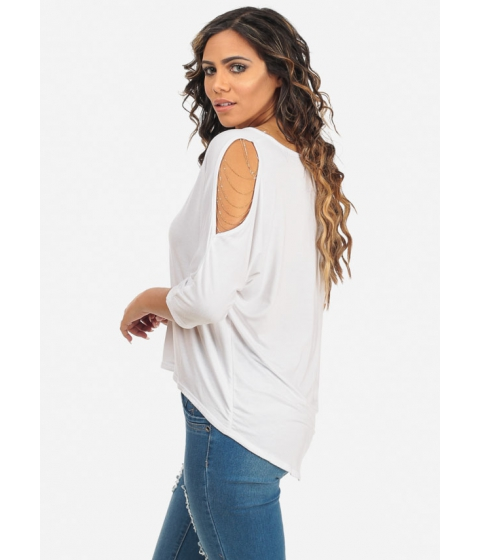 Imbracaminte Femei CheapChic Womens Solid White Gold Chain Cold Shoulder 34 Sleeve Stylish Top Multicolor