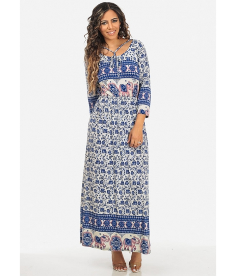 Imbracaminte Femei CheapChic 34 Sleeve Blue Elastic Waist Printed Strappy Scoop Neck Maxi Dress Multicolor