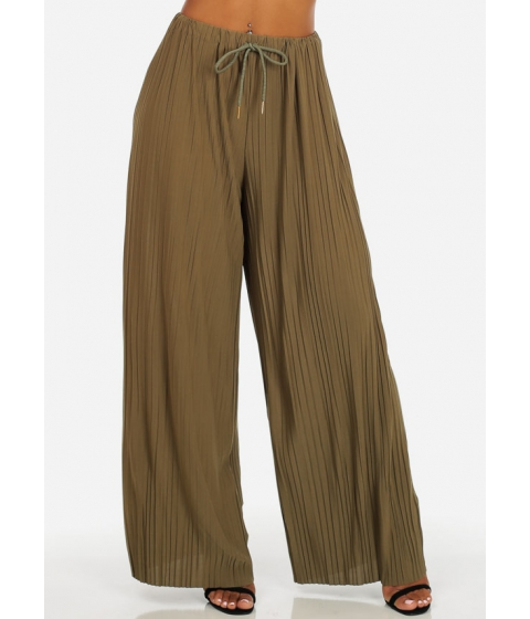Imbracaminte Femei CheapChic One Size High Rise Olive Drawstring Waist Pleated Wide Leg Pants Multicolor