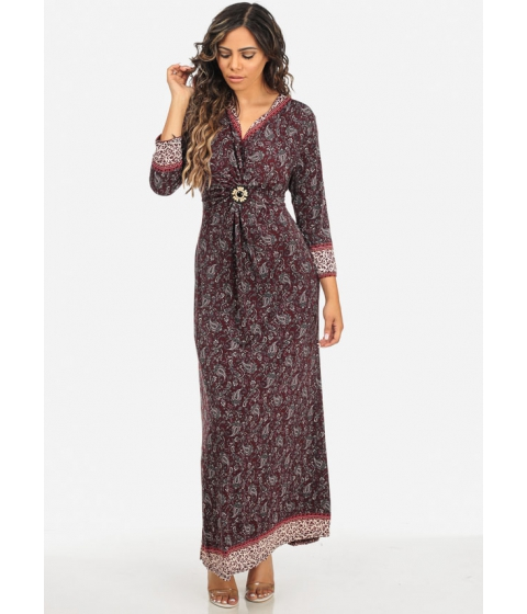 Imbracaminte Femei CheapChic Paisley Print Burgundy Wood Bead Detail Maxi Dress w Belt Included Multicolor