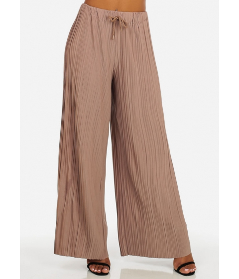 Imbracaminte Femei CheapChic One Size High Rise Taupe Drawstring Waist Pleated Wide Leg Pants Multicolor