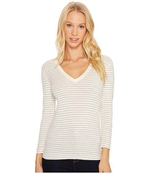 Imbracaminte Femei Three Dots Tahoe Stripe 34 Sleeve Deep V-Neck CreamGranite