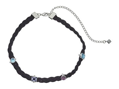 Bijuterii Femei Rebecca Minkoff Multi Stone Charms on Braided Leather Choker Necklace SilverBlue Multi