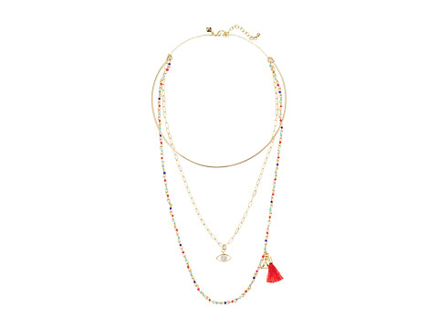 Bijuterii Femei Rebecca Minkoff Layered Collar Necklace with Multi Seed Beads GoldWarm Multi