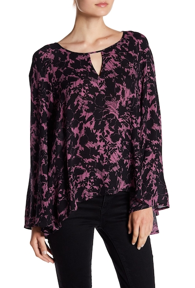 Imbracaminte Femei Abound Long Flare Sleeve Floral Blouse PURPLE S FLR GR