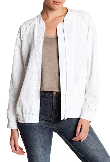 Imbracaminte Femei Equipment Kendrix Silk Eyelet Crochet Bomber Jacket BRIGHT WHITE