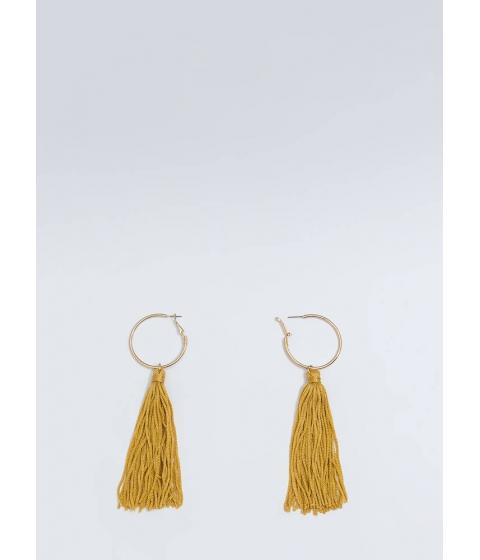 Bijuterii Femei CheapChic Cool Threads Tassel Hoop Earrings Mustard