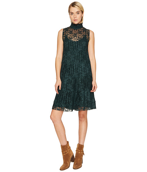 Imbracaminte Femei See by Chloe Lace and Pleats Dress Deep Forest
