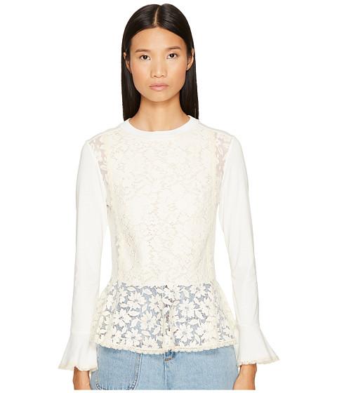 Imbracaminte Femei See by Chloe Embellished Peplum Long Sleeve Tee Natural White