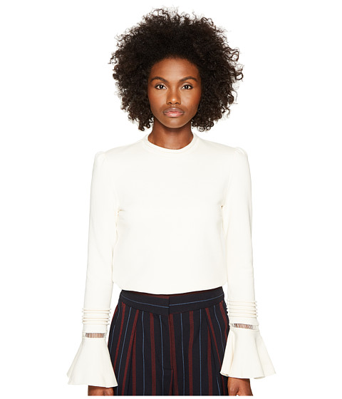 Imbracaminte Femei See by Chloe Fleece and Lace Bell Sleeve Long Sleeve Natural White