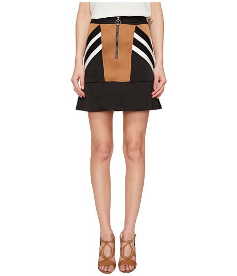 Imbracaminte Femei NEIL BARRETT Retro Modernist III Rayon Stripes Cady Stripes Skirt Brown