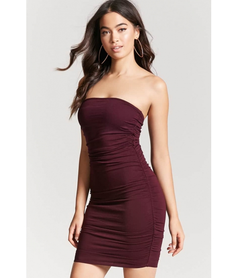 Imbracaminte Femei Forever21 Strapless Ruched Dress BURGUNDY