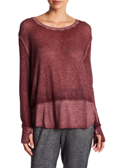 Imbracaminte Femei Abound Long Sleeve Thermal Knit Tee BURGUNDY STEM