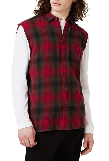 Imbracaminte Barbati TOPMAN Sleeveless Plaid Shirt RED MULTI