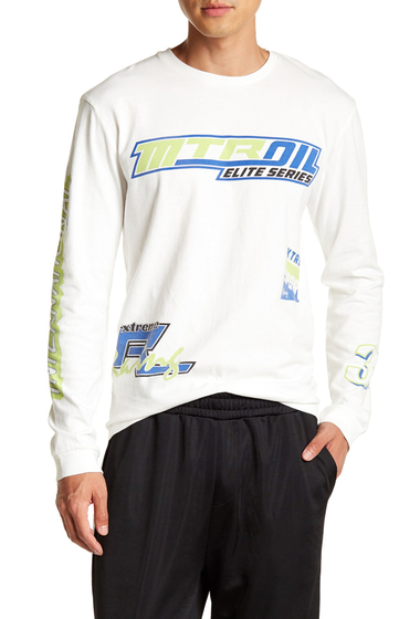 Imbracaminte Barbati TOPMAN Motocross Print Oversized Long Sleeve Tee WHITE