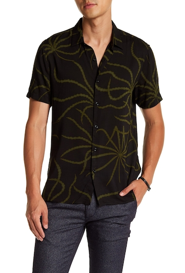 Imbracaminte Barbati TOPMAN Short Sleeve Black Khaki Print Regular Fit Shirt BLACK