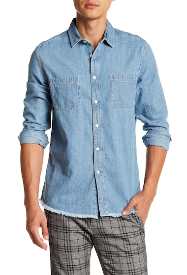 Imbracaminte Barbati TOPMAN Long Sleeve Stonewash Raw Hem Denim Regular Fit Shirt DENIM