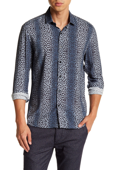 Imbracaminte Barbati TOPMAN Long Sleeve Petrol Ombre Leopard Print Regular Fit Shirt BLUE