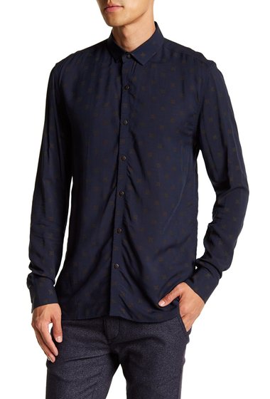 Imbracaminte Barbati TOPMAN Long Sleeve Navy Gold Geo Print Casual Regular Fit Shirt NAVY-GOLD