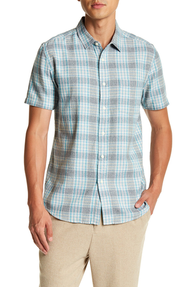 Imbracaminte Barbati TOPMAN Short Sleeve Teal Twist Check Regular Fit Shirt GREEN