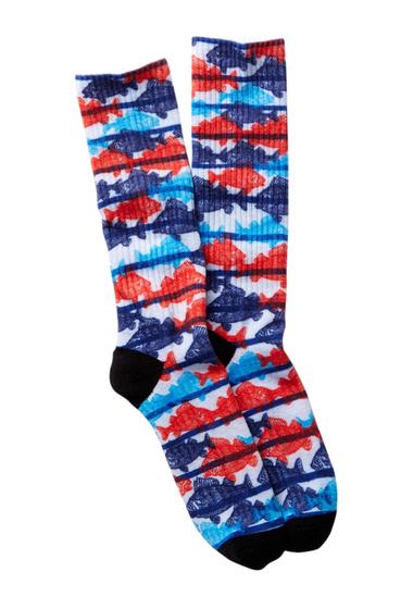 Accesorii Barbati Public Opinion Fish Print Socks BLUE- RED FISH