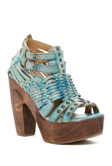Incaltaminte Femei BedStu Cindy Leather Platform Heeled Sandal BLUE DRIFTWOOD