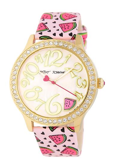 Ceasuri Femei Betsey Johnson Womens Wacky Watermelon Crystal Leather Watch 42mm GOLD