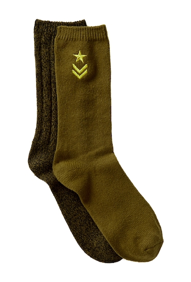 Accesorii Femei Steve Madden Military Embroidered Boot Socks - Pack of 2 GRAPE LEAF-BLACK WITH GOLD