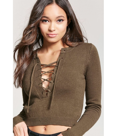 Imbracaminte Femei Forever21 Lace-Up Sweater-Knit Top OLIVE