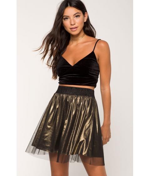 Imbracaminte Femei CheapChic Mesh Overlay Metallic Flare Skirt Metallic Gold