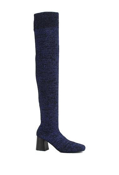 Incaltaminte Femei Nature Breeze Malibu Metallic Stretch Over-the-Knee Boot BLUE GLITTER