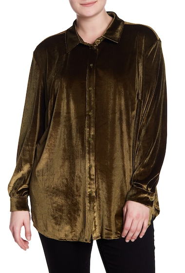 Imbracaminte Femei 14th Union Long Sleeve Velvet Blouse Plus Size OLIVE DARK