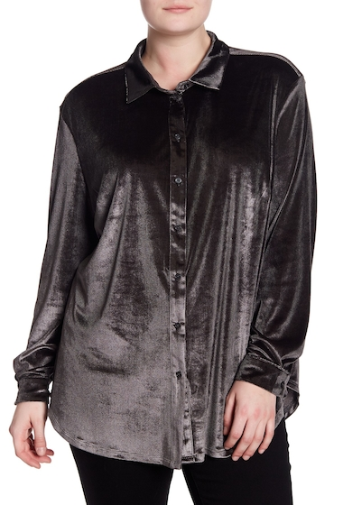 Imbracaminte Femei 14th Union Long Sleeve Velvet Blouse Plus Size GREY PHANTOM