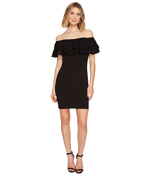 Imbracaminte Femei Jessica Simpson Solid Scuba Ruffle Off the Shoulder Dress Black