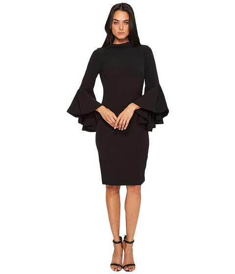 Imbracaminte Femei Badgley Mischka Flare Sleeve Roll Collar Dress Black