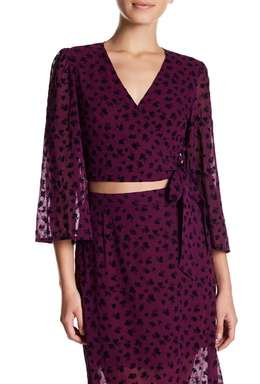 Imbracaminte Femei Free Press Surplice Wrap Front Print Blouse PURPLE DARK