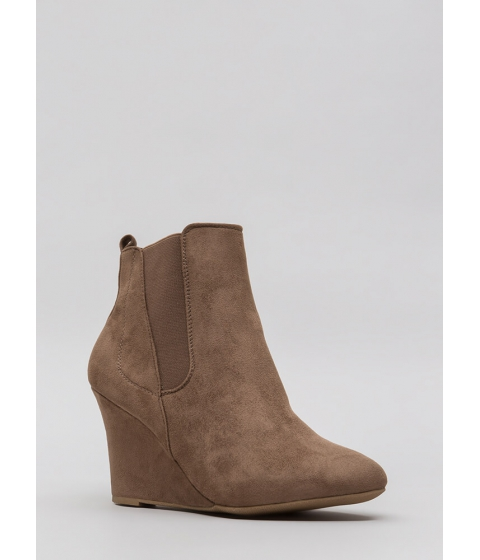 Incaltaminte Femei CheapChic Sure Footing Faux Suede Wedge Booties Taupe