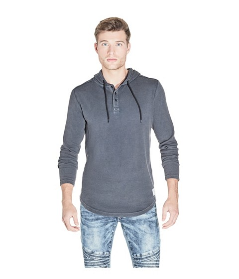 Imbracaminte Barbati GUESS Spahr Thermal Hoodie graphite blue
