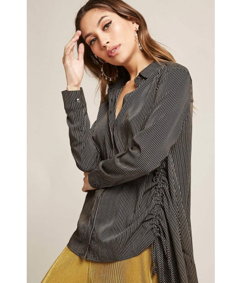 Imbracaminte Femei Forever21 Stripe Ruched Button-Down Shirt BLACK