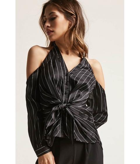 Imbracaminte Femei Forever21 Striped Open-Shoulder Top BLACK