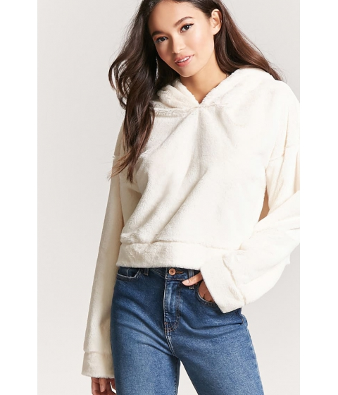 Imbracaminte Femei Forever21 Faux Fur Cropped Hoodie BEIGE