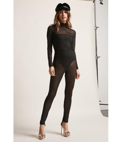 Imbracaminte Femei Forever21 Motel Polka Dot Mesh Jumpsuit BLACK