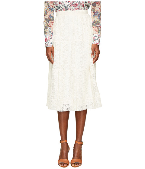 Imbracaminte Femei See by Chloe Lace and Pleats Skirt Natural White
