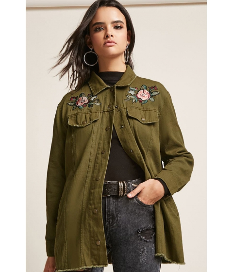 Imbracaminte Femei Forever21 Floral Embroidered Raw-Cut Denim Jacket OLIVE