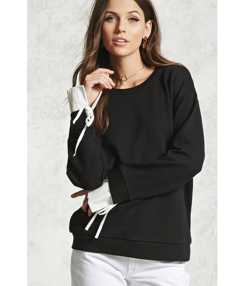 Imbracaminte Femei Forever21 Contrast Cuff Pullover BLACKIVORY